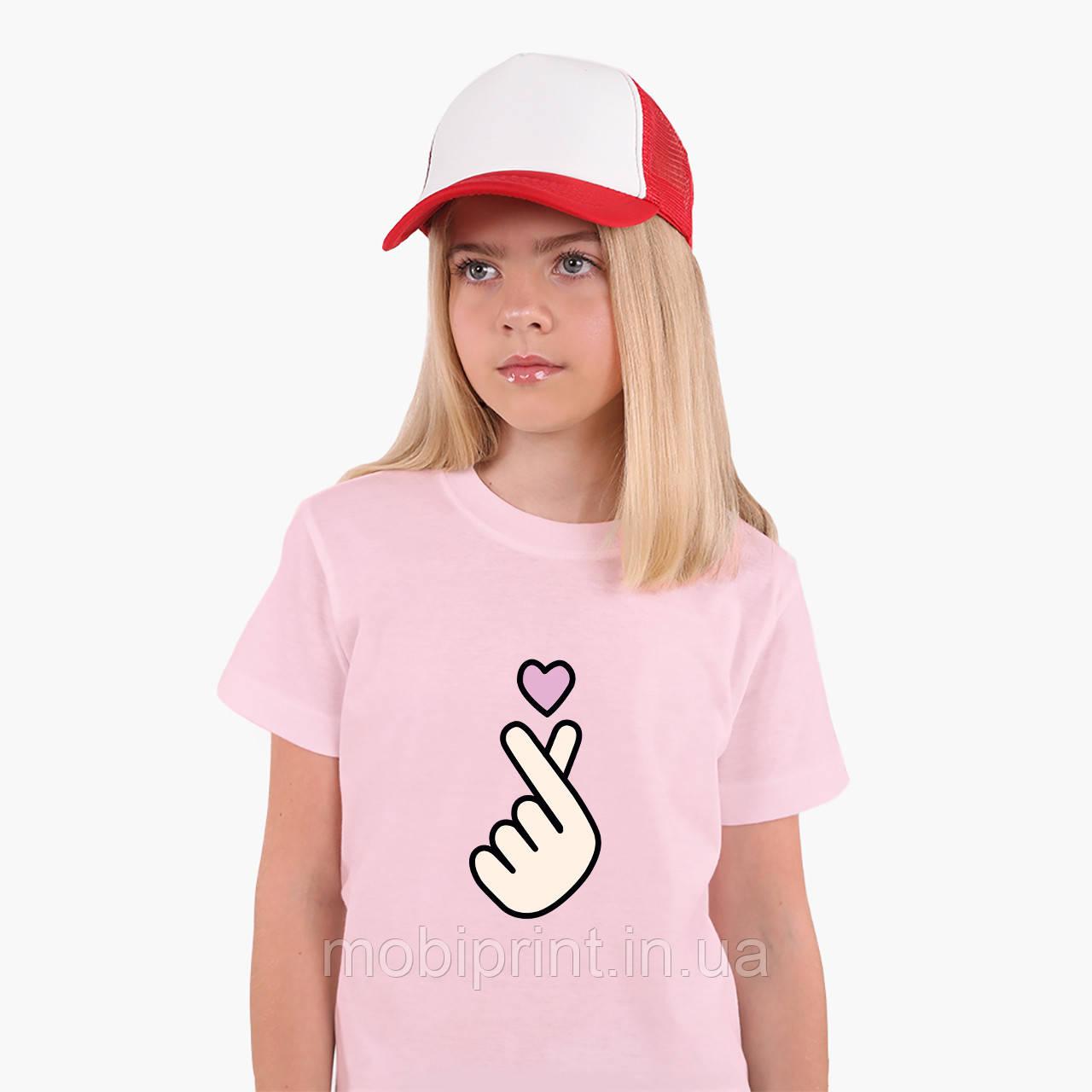 Детская футболка для девочек БТС (BTS) (25186-1063) Розовый