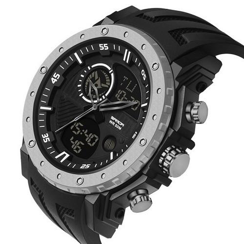 Часы наручные оригинал Sanda 6012 Black-Silver