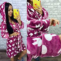 Теплый женский махровый домашний халат цвета фуксия, фото 2