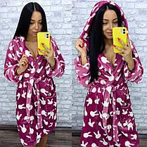 Теплый женский махровый домашний халат цвета фуксия, фото 3