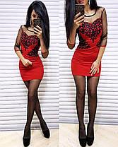 Платье короткое с узором сетка и трикотаж с рукавом, фото 3
