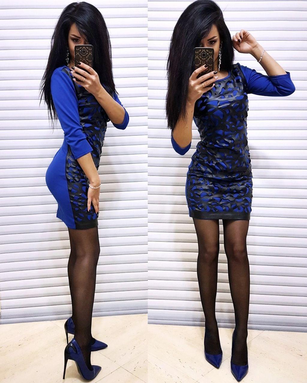 Платье короткое из перфорированной кожи и трикотажа