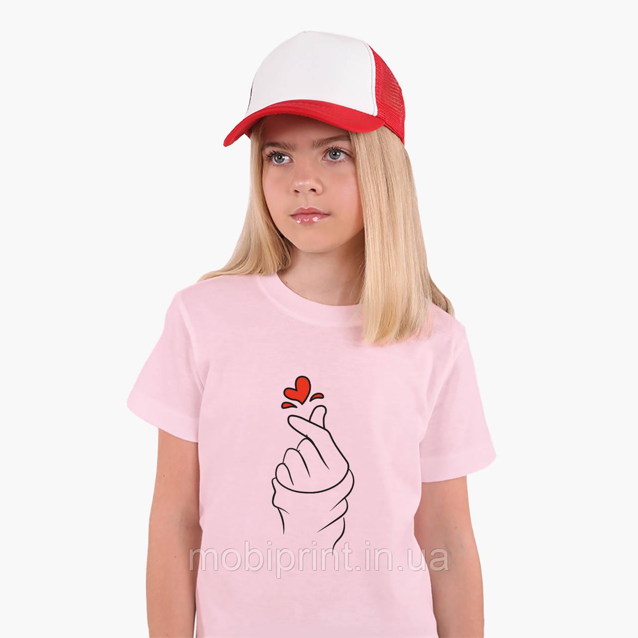 Детская футболка для девочек БТС (BTS) (25186-1165) Розовый