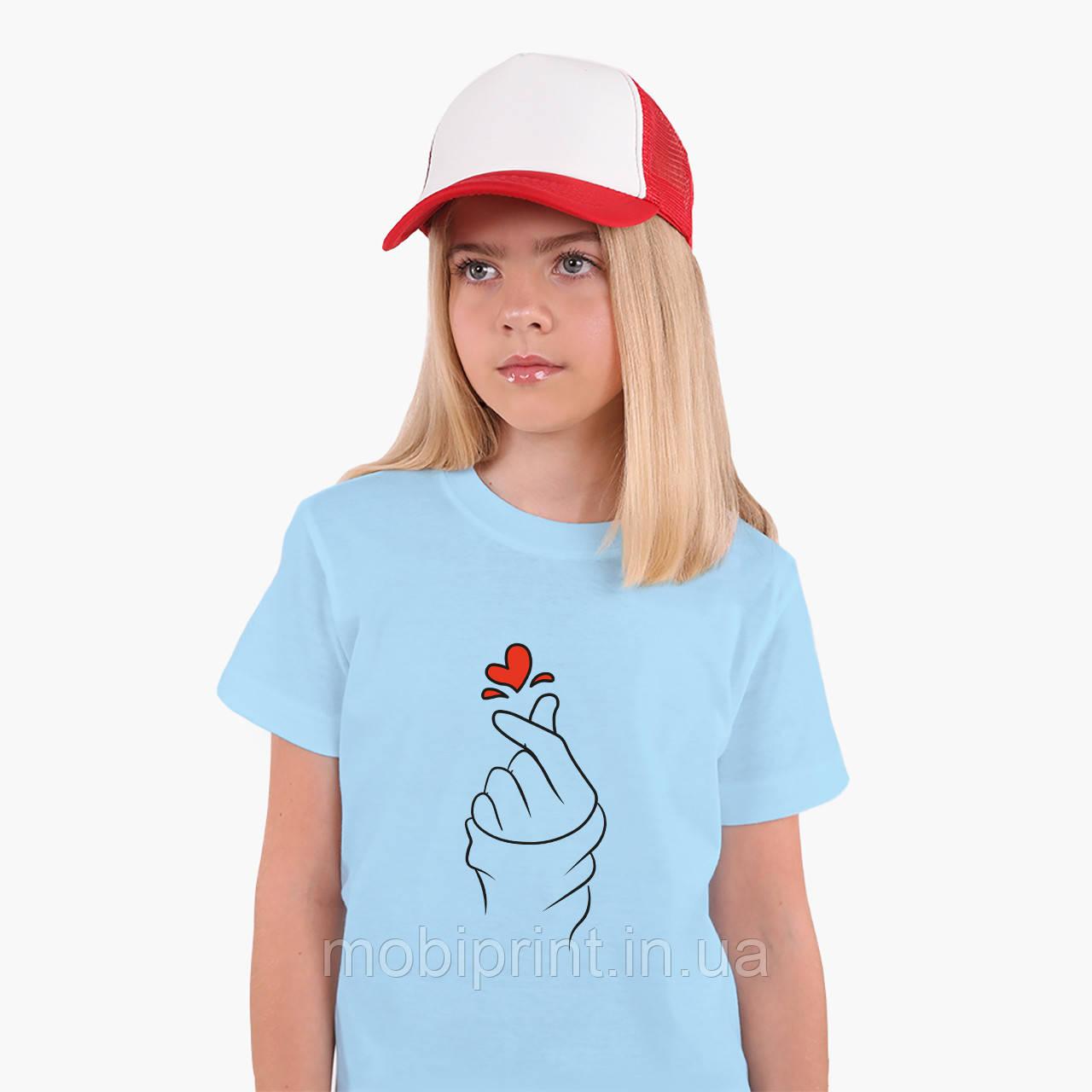 Детская футболка для девочек БТС (BTS) (25186-1165) Голубой