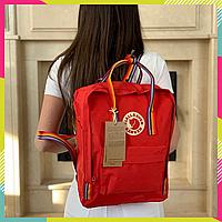 Рюкзак Fjallraven Kanken Classic Канкен 16 литров, Красный с радужными ручками, Top replic, сумка, портфель