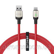 BlitzWolf® BW-TC21 3A USB Type-C Кабель передачи данных LED индикатор Быстрая зарядка 1м нейлоновый.