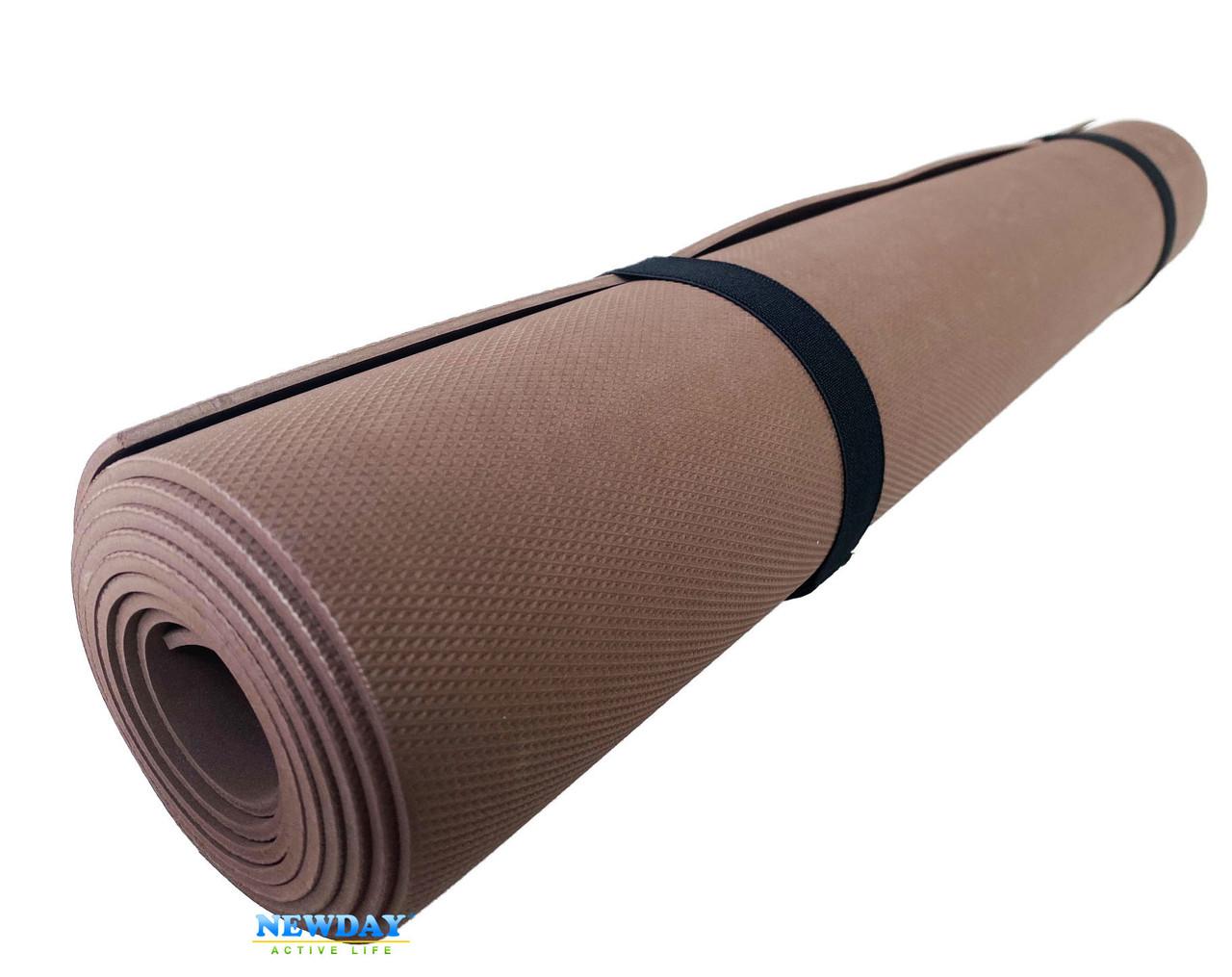 Коврик для йоги и фитнеса «NEWDAY» 1800×600×3мм, EVA, нескользящий Коричневый