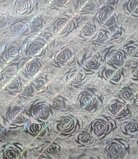 М'яке скло Скатертину з лазерним малюнком Soft Glass 1.4х0.8м товщина 1.5 мм Срібляста троянда, фото 2