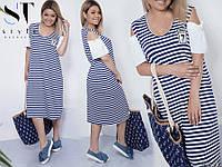 Легкое, летнее женское платье в морском стиле, ткань *Трикотаж* 50, 52 размер 50