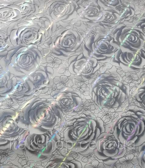 Мягкое стекло Скатерть с лазерным рисунком Soft Glass 2.5х0.8м толщина 1.5мм Серебристая роза