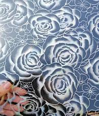 Мягкое стекло Скатерть с лазерным рисунком Soft Glass 2.5х0.8м толщина 1.5мм Серебристая роза, фото 3