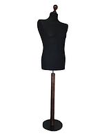 Манекен мужской производител размер 50/52 в черном чехле на коричневой круглой подставке, фото 1