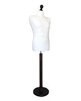 Манекен чоловічий виробник Ailant розмір 50/52 в білому чохлі на коричневою круглій підставці, фото 1