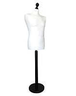 Манекен мужской производитель Ailant размер 50/52 в белом чехле на черной круглой подставке