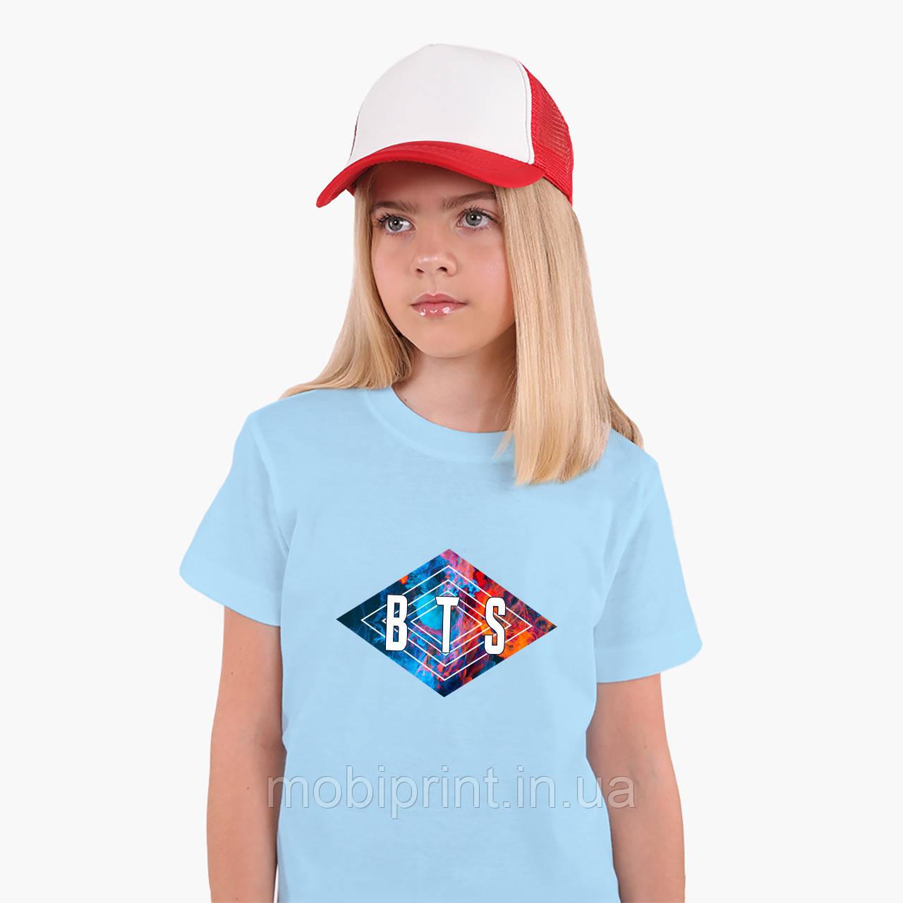 Детская футболка для девочек БТС (BTS) (25186-1062) Голубой