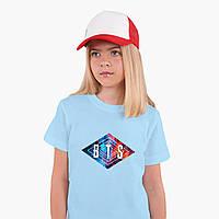 Детская футболка для девочек БТС (BTS) (25186-1062) Голубой, фото 1