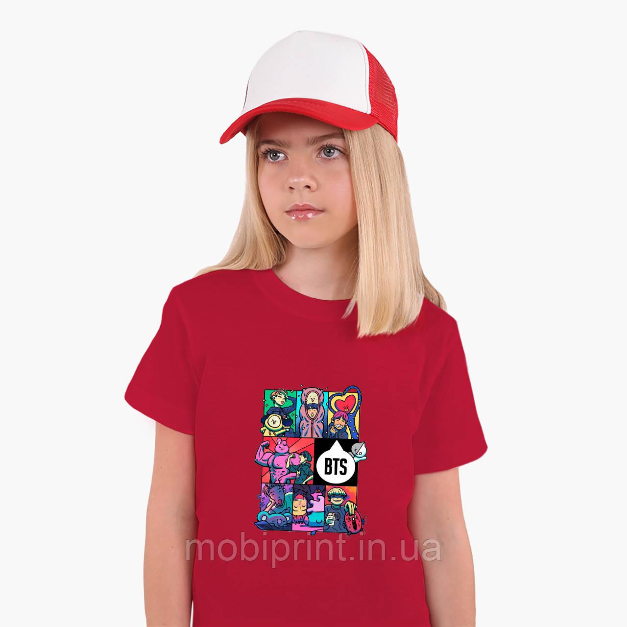 Детская футболка для девочек БТС (BTS) (25186-1078) Красный