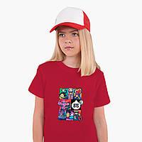 Детская футболка для девочек БТС (BTS) (25186-1078) Красный, фото 1