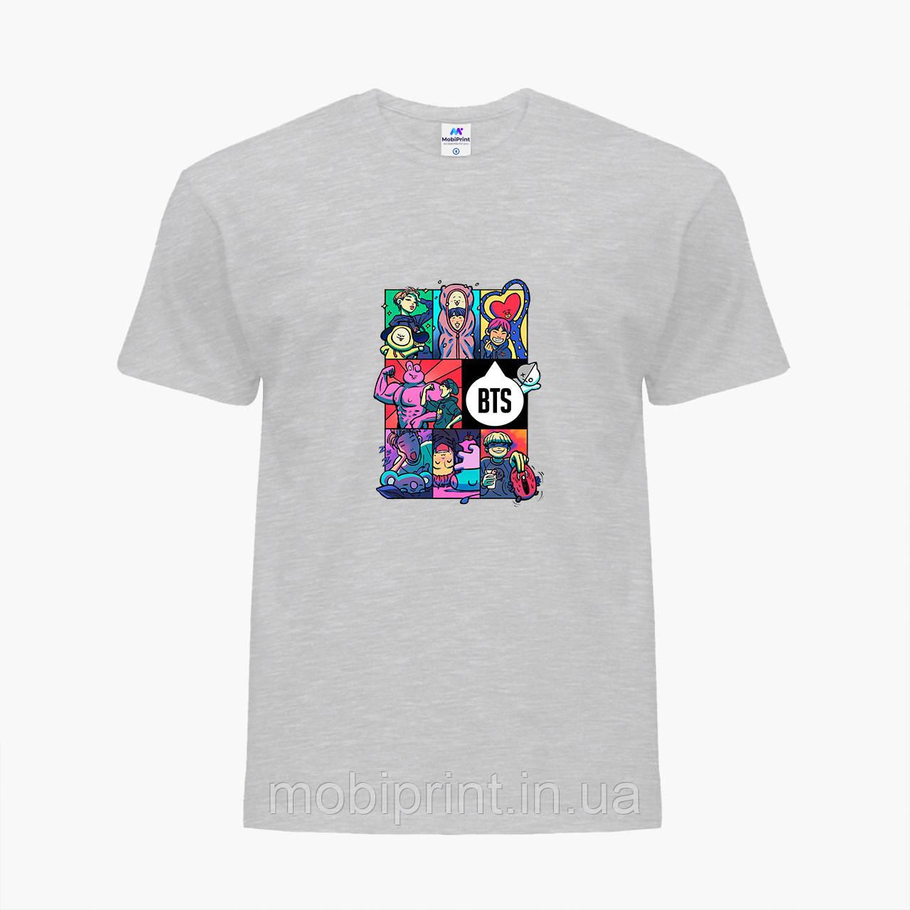 Детская футболка для девочек БТС (BTS) (25186-1078) Светло-серый