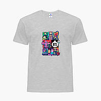 Детская футболка для девочек БТС (BTS) (25186-1078) Светло-серый, фото 1