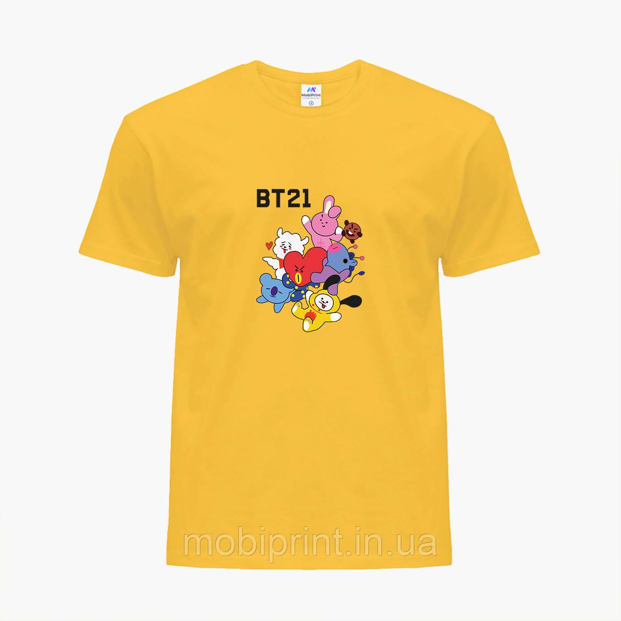 Детская футболка для девочек БТС (BTS) (25186-1166) Желтый