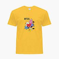 Детская футболка для девочек БТС (BTS) (25186-1166) Желтый, фото 1