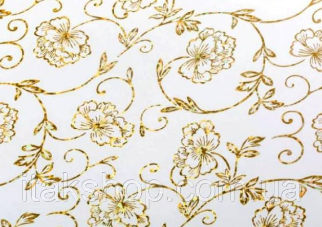 Мягкое стекло Скатерть с лазерным рисунком Soft Glass 1.6х0.8м толщина 1.5мм Золотистые цветы