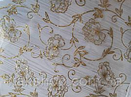 Мягкое стекло Скатерть с лазерным рисунком Soft Glass 1.6х0.8м толщина 1.5мм Золотистые цветы, фото 3