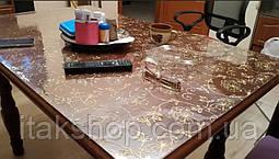 Мягкое стекло Скатерть с лазерным рисунком Soft Glass 1.6х0.8м толщина 1.5мм Золотистые цветы, фото 2