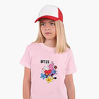 Детская футболка для девочек БТС (BTS) (25186-1166) Розовый, фото 1
