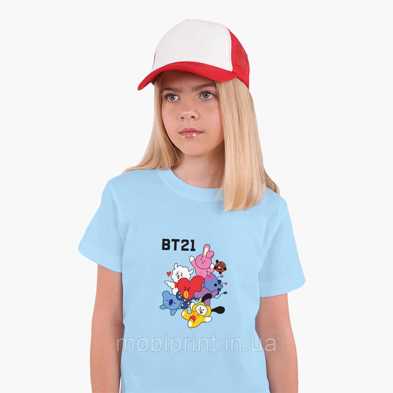 Детская футболка для девочек БТС (BTS) (25186-1166) Голубой
