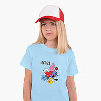 Детская футболка для девочек БТС (BTS) (25186-1166) Голубой, фото 1