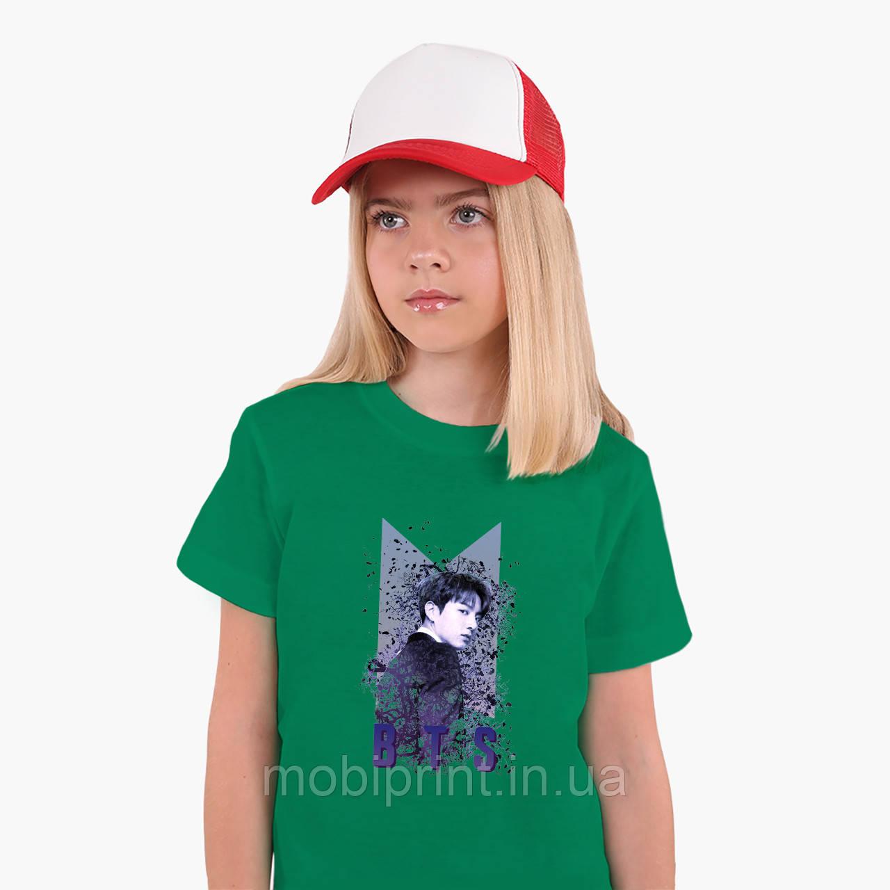 Детская футболка для девочек БТС (BTS) (25186-1065) Зеленый