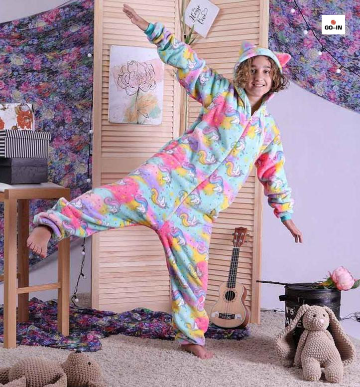 Пижама махровая для девочек кигуруми Единорог детский теплый р. 34-40