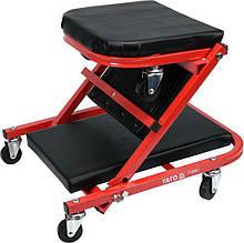 Лежак-сидение подкатной для авторемонта на 6 колесах; 91х 42х 13 см, для нагрузки леж./сид. полож- 150/120 кг