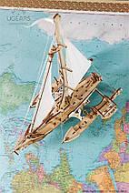 Тримаран Мерихобус UGears (237 деталей) - механічний дерев'яний 3D пазл конструктор, фото 3