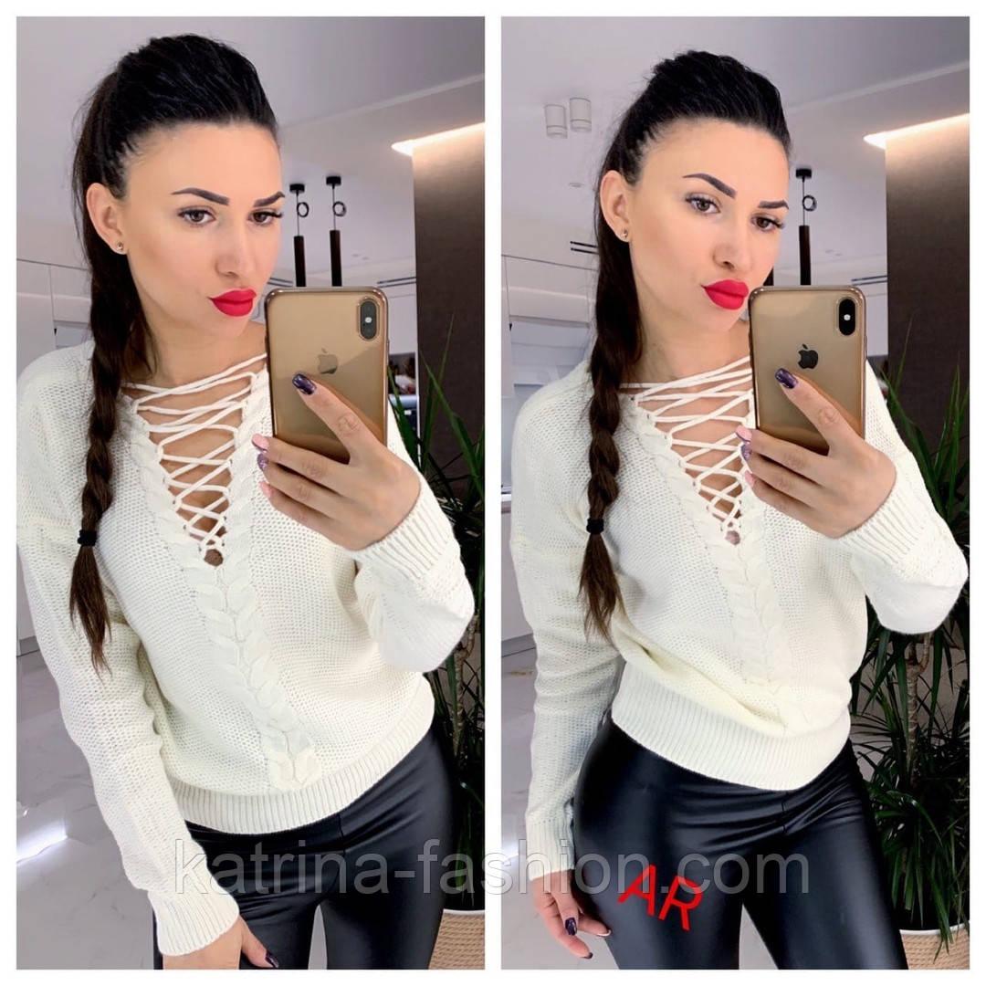 Женский свитер/джемпер со шнуровкой (в расцветках)