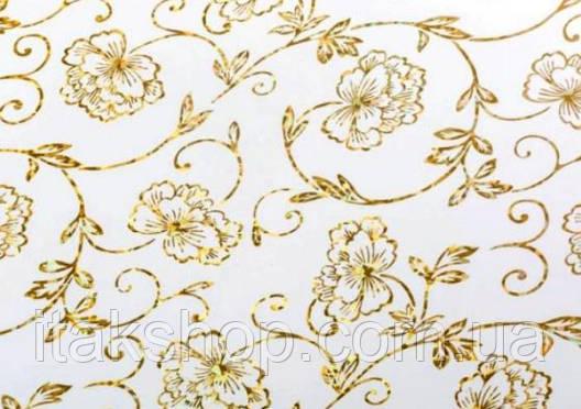 Мягкое стекло Скатерть с лазерным рисунком Soft Glass 2.7х0.8м толщина 1.5мм Золотистые цветы, фото 2