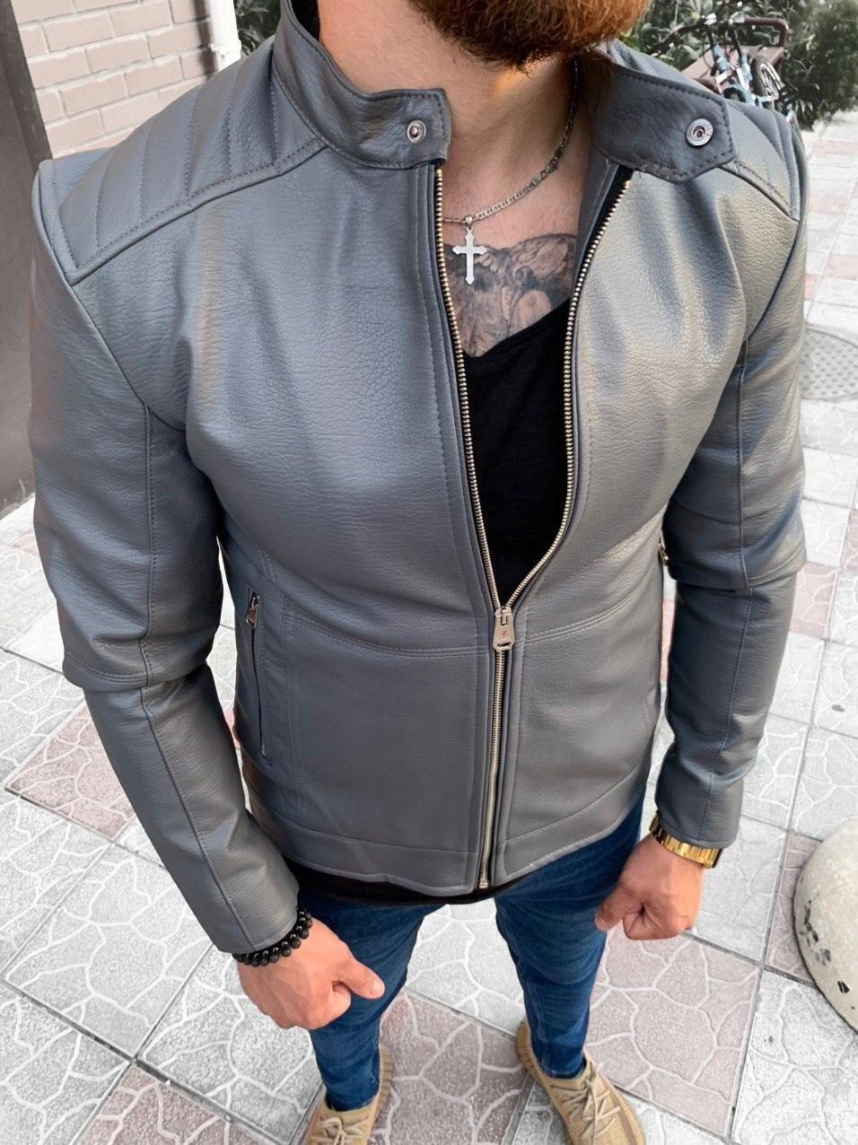 Куртка - Мужская серая куртка из эко кожи