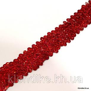 Резинка Трикотажная с Пайетками, 30 мм, Цвет: Красный (1 метр)