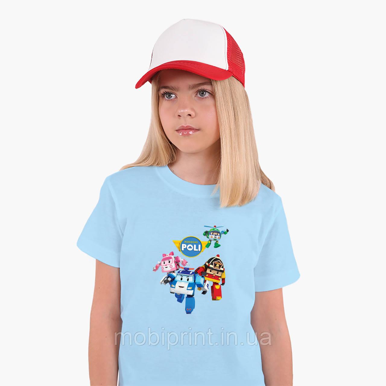 Детская футболка для девочек Робокар Поли (Robocar Poli) (25186-1618) Голубой