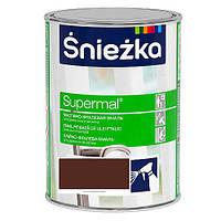 Эмаль маслянно фталевая для дерева и металла Sniezka SUPERMAL КОРИЧНЕВАЯ Матовая RAL8016 0,8л PL
