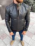 Куртка - Мужская черная куртка (эко кожа), фото 2
