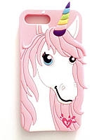 Чехол силиконовый Единорог-Конь для IPhone 5/5S/SE Pink (айфон 5/5с/се)
