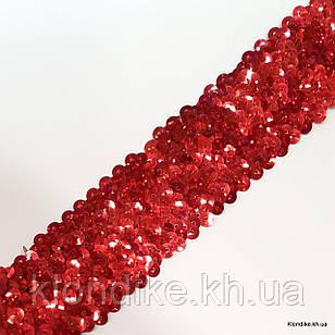 Резинка Трикотажная с Пайетками, 50 мм, Цвет: Красный (1 метр)