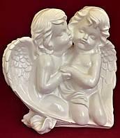 Статуэтка интерьерная Ангелочки пара крыло, белый, 27 см