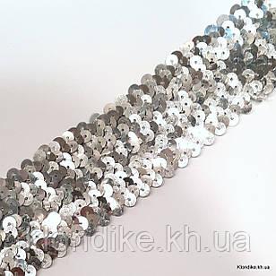 Резинка Трикотажная с Пайетками, 50 мм, Цвет: Серебро (1 метр)