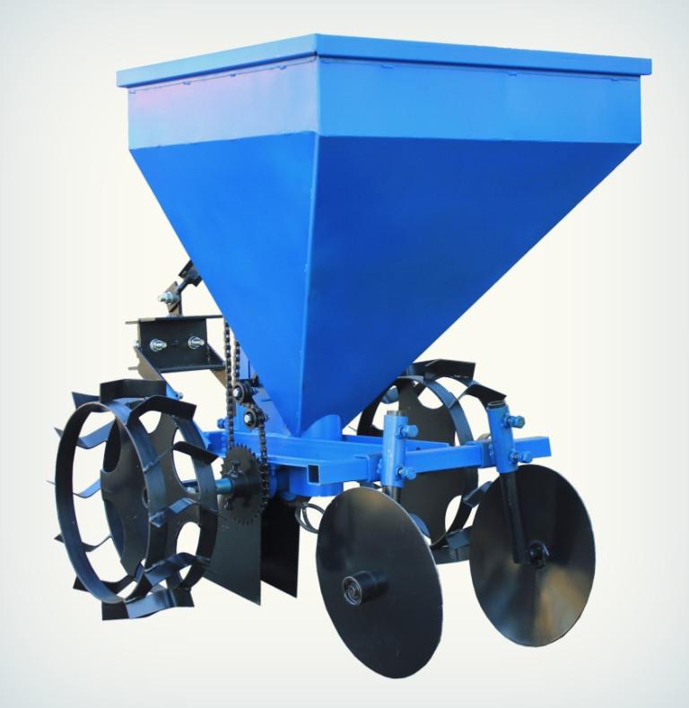 Картофелесажалка Премиум для мототрактора (60 л, бункер для удобрений)