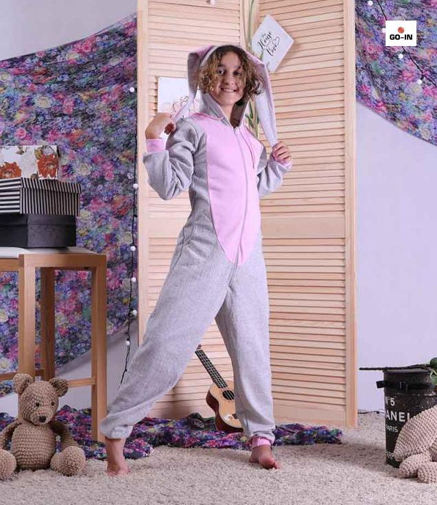 Пижама детская с ушками кигуруми хлопковый теплый серый однотонный р. 34-40