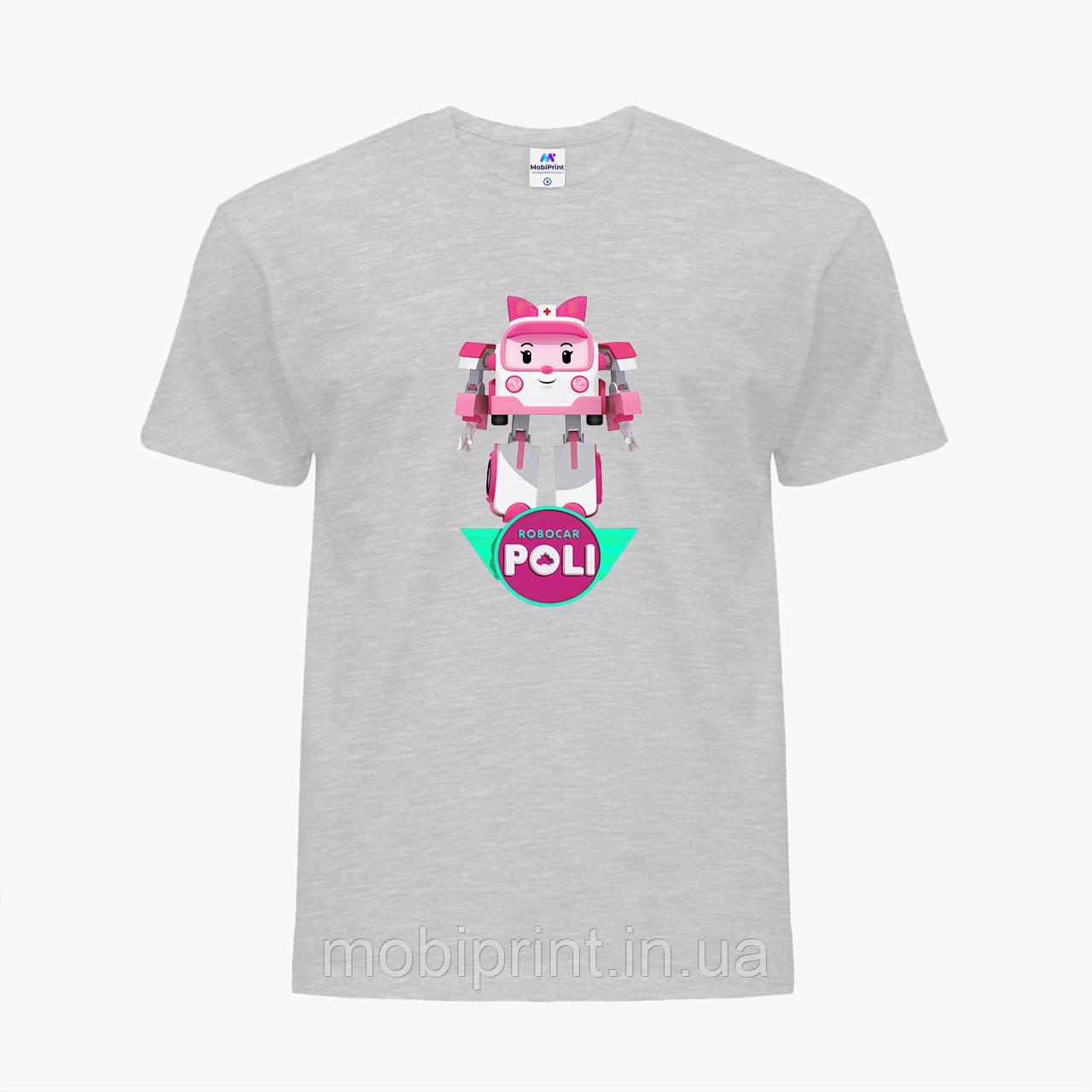 Детская футболка для девочек Робокар Поли (Robocar Poli) (25186-1621) Светло-серый